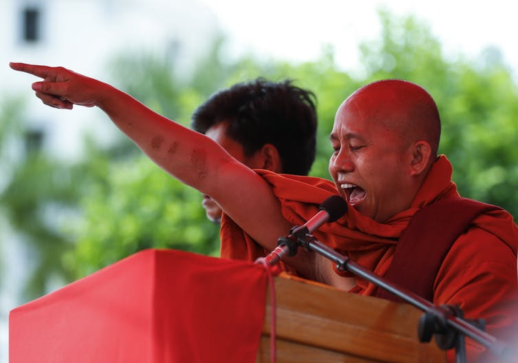 Nationalist monk Wirathu rallies his supporters in Myanmar.